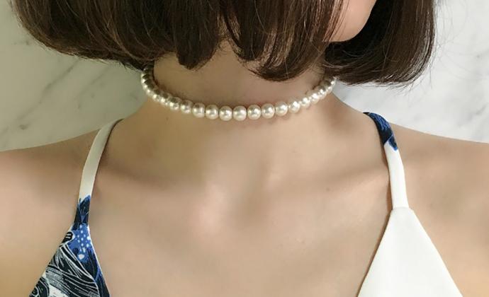6mm棉花珍珠开口项链