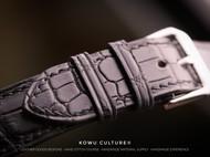【手工皮具】顾客订制 黑色哑光鳄鱼表带