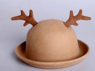 张可爱原 创秋冬森系毛毡帽 圆爱·麋鹿 立体逼真鹿角 驼色