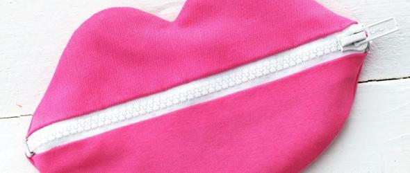 DIY布艺包包教程 - 制作烈焰红唇形的zipped拉链布艺小袋教程