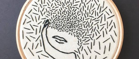 生动而幽默的黑色刺绣插画 | @ohmygollyembroidery
