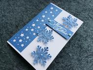 文艺青年系列 DIY手工贺卡特种纸 圣诞卡 雪花款 湖蓝色