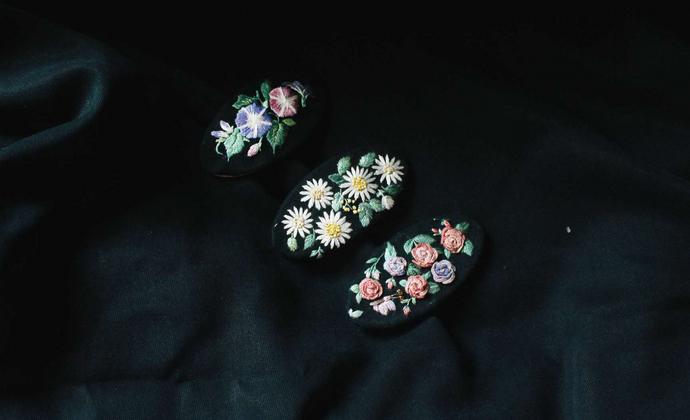 手工刺绣发夹