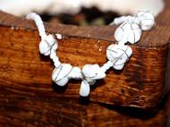 |小七手作|留光亦彩系列 原创手工DIY白松石串珠纯白手链