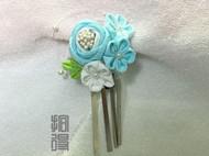 拾得•玫瑰人生(蓝) 手工和风细工发夹边夹