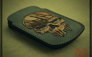 纯手工—骷髅皮雕定型手机套