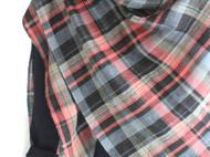 粉蓝黑双层棉格子大披肩(纯手工缝)