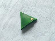 手工植鞣皮手染草绿色三角零钱包