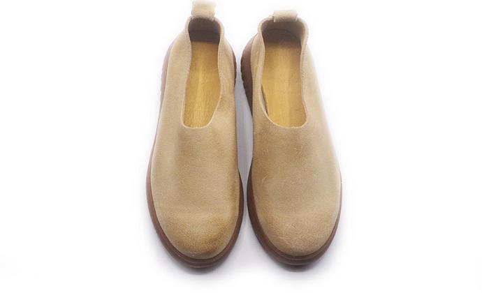 手工女鞋 厚底增高牛皮擦色单鞋
