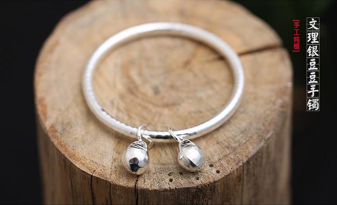 valentina原创设计师设手工银925银纹理银豆豆镯子手镯首饰女礼物