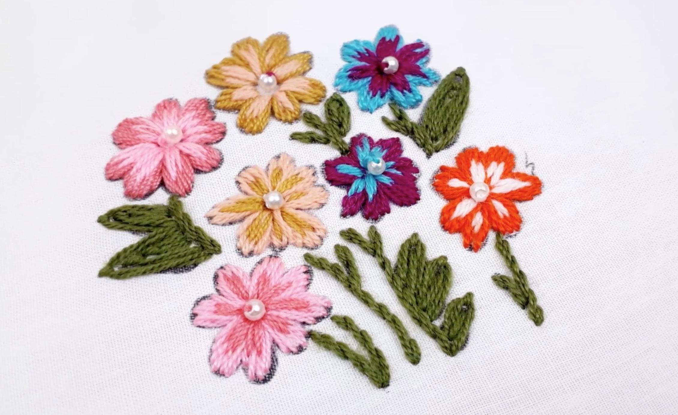 手工刺绣:以变形的茎绣绣出美丽的花朵