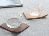 木说 黑胡桃木创意折角杯垫 榉木茶杯托 天然实木茶艺配件简约咖啡杯垫