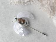 【LXB私人设计】法式刺绣 立体珠绣 昆虫胸针(香槟金锆石款) 现货