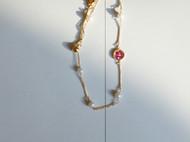 M.Q奎妮小姐 细链粉钻四叶草天然珍珠手链抽拉调节