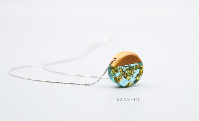 善术SANSHIO纯手工文艺范925纯银木吊坠金箔项链创意锁崖柏骨链