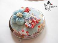 日式和风恋花立体刺绣蓝樱花手工便携化妆镜子和服森女配饰满包邮