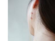 M.Q奎妮小姐 细长粉钻四叶草天然珍珠耳钉/长耳线