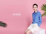 konke原创设计夏季新品猫咪格纹衬衫复古知性显瘦百搭娃娃领