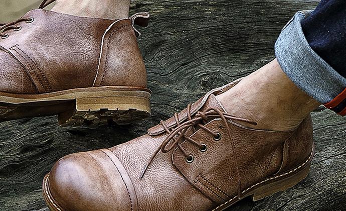 休闲潮鞋低帮工装男士复古英伦时尚大头皮鞋男