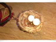 【落入凡间的彩虹】森女麻绳鸟巢鸟蛋造型项链皮绳项链
