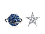 CAMBAS刊芭思 蓝色星球耳钉 法式高级感不规则耳环女纯银网红耳饰