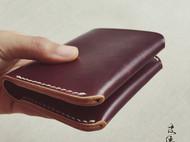 皮侠客PXK-简约六卡位竖版棕色短夹 意大利植鞣革 纯手工染色缝制