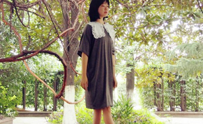 旧事独立设计 复古布蕾丝领纯色宽松T恤连衣裙 日韩风格连衣裙