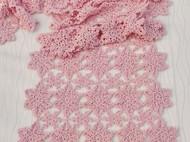 日系漫天中的雪花手工镂空钩花编织羊绒围巾披肩