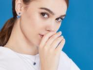 CAMBAS刊芭思 蓝色星球不对称耳环 法式高级感925纯银气质耳钉女