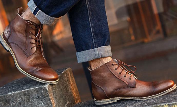 KRUSDAN外贸男鞋手工真皮男鞋 原创复古马丁靴 冬男短靴子军靴