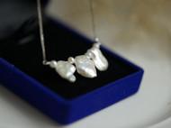 925纯银简约气质天然花瓣珍珠锁骨链项链