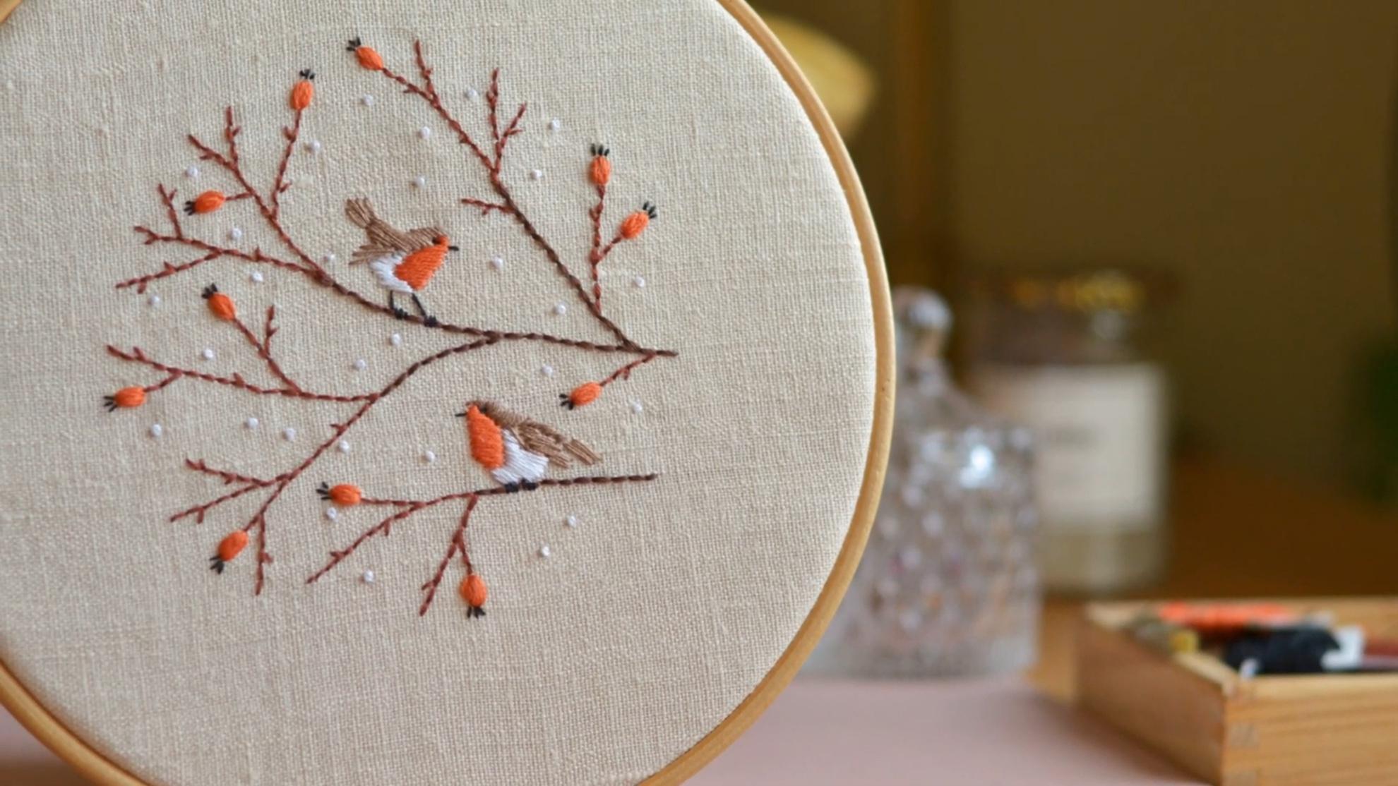 DIY手工刺绣视频:树上的知更鸟