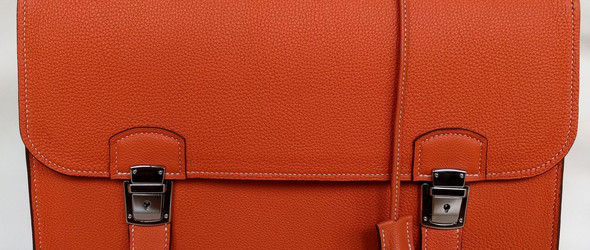 手工皮革制作教程:仿爱马仕橙色皮革公文包手工制作完整过程(上半部分)