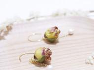纯手工 小清新 气质珍珠玫瑰花苞耳环
