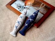 一条禅意的鱼 ZAKKA手工自制刺绣麻绳中药薰衣草驱蚊香包钥匙挂件