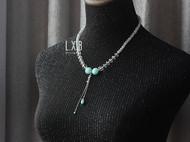 【LXB私人设计】浅蓝琉璃水晶项链