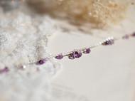【Mint】手工切面渐变迷你紫水晶不规则925纯银纤细手链