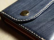 意大利蓝色封蜡植鞣加原色植鞣革 极简长夹