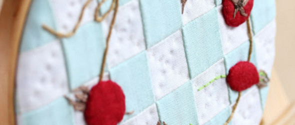 DIY玫瑰果(Rosehip beads)拼布装饰画