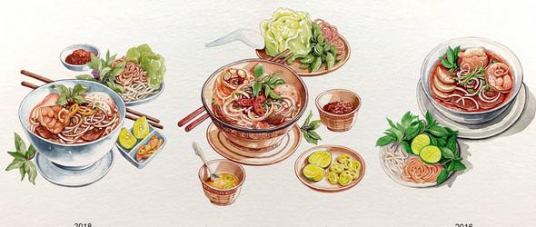 画的是美食,更是文化与风俗 | 越南插画师Lê Rin手绘的美食插画