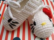 【原创】【纯手工钩织】Hello Kitty 宝宝鞋/学步鞋/毛线鞋