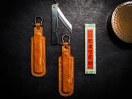 定駒肥後守 折刀定制刀鞘 意大利植鞣革复古做旧表面