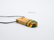 善术SANSHIO纯手工树脂与木吊坠毛衣链文艺范极简原创设计情侣款创意项链项坠包邮