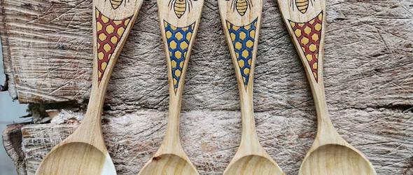 雕刻的手工木勺:dane licina