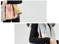 川朴艺术设计《蝶舞春风自含香》限量款真丝拉绒围巾