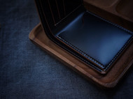 白馬手造 |手工制作皮具 goro's经典款短夹/钱包 马臀皮 黑色
