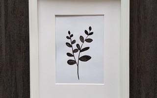 DIY手绘黑白树叶装饰画