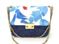 吴小姐的店--蓝色·蓝彩叶翻盖式手工包