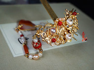【山葵】原创铜镀金珍珠珊瑚流苏簪汉服发簪古典古风首饰