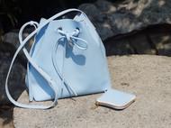 学习mansur gavriel-水蓝色单肩桶包